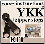 YKK ZIPPER REPAIR KIT for JEEP 1x Pull Reversible Slider w/2 tabs YKK #10 Coil Zipper Repair KIT 10CF Wrangler Soft Window Zip up Closure SUV Soft to, Wax, Easy Instructions, top & Bottom Stops viteao