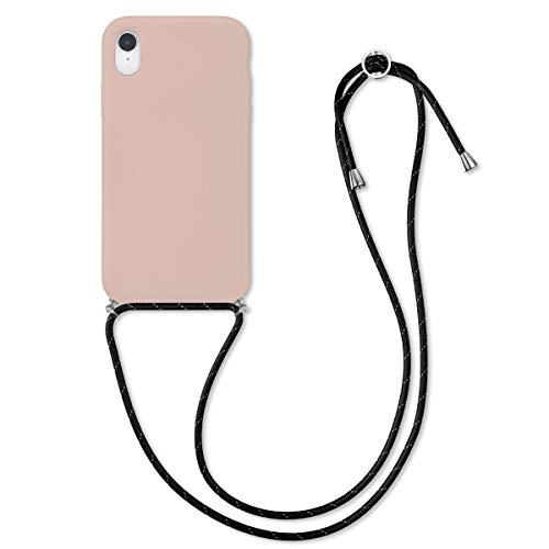 kwmobile Crossbody Case Compatible with Apple iPhone XR - TPU with Silicone Coating Cover with Neck Cord Lanyard Strap - Dusty Pink