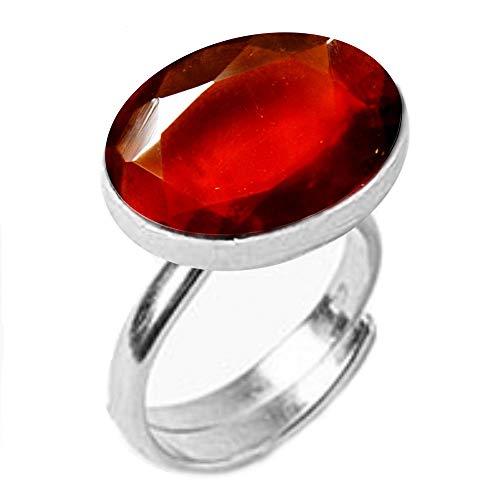 GemsOnClick Natural Hessonite Adjustable Ring Silver Plated Certified Gemstone Rashi Ratan- Adjust Size Q to Z (UK)