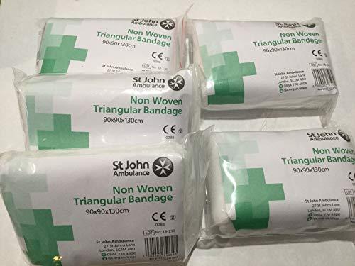 5 x St John Ambulance 90 x 90 x 130cm Triangular Bandages