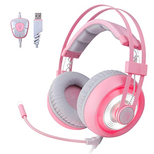 SADES G70 7.1 Stereo Surround Sound Gaming Headset with Mic, Noise Cancelling&Led Light, USB Pink Gamer Headphones with Volume Control for PC MAC Computer Games