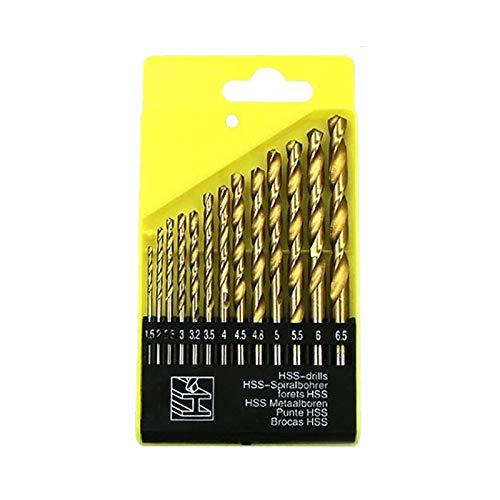 Demarkt 13 STK. Micro Drill Bit Set Titanium HSS High Speed Metal Drill Bit Set 1.5-6.5 mm, Gold, 1.5-6.5mm