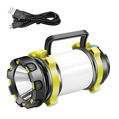 YCH LED Camping Latern Rechargeable Flashlight, Power Bank 6 Modes Waterproof and High Lumen for Camping, Hiking, Outdoor Recreations, Rechargeble Batteries and USB Charging Cable Included