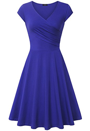 Laksmi Women's Plus Size v-Neck Solid Short-Sleeve Knee Fit-and-Flare Dress, Blue, XX-Large