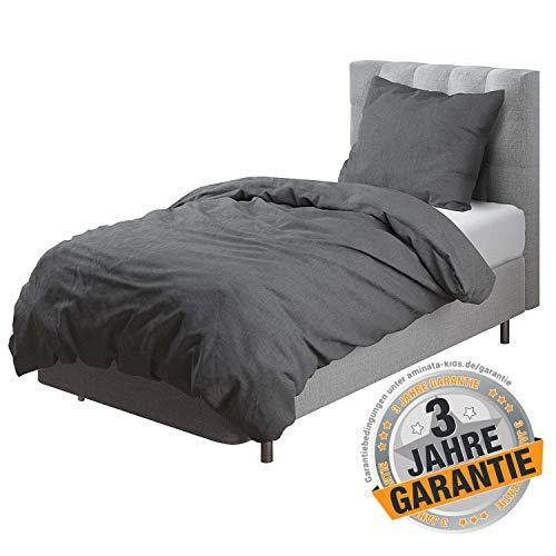 Aminata Kids - Premuim Bettwäsche-Set grau 135-x-200- cm Männer, Frauen, Jugendliche - Baumwolle - anthrazit, dunkel-grau - einfarbig - Uni-Motiv