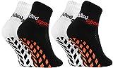 Rainbow Socks - Jungen Mädchen Neon Sneaker Sport Stoppersocken - 2 Paar - Weiß Schwarz - Größen...