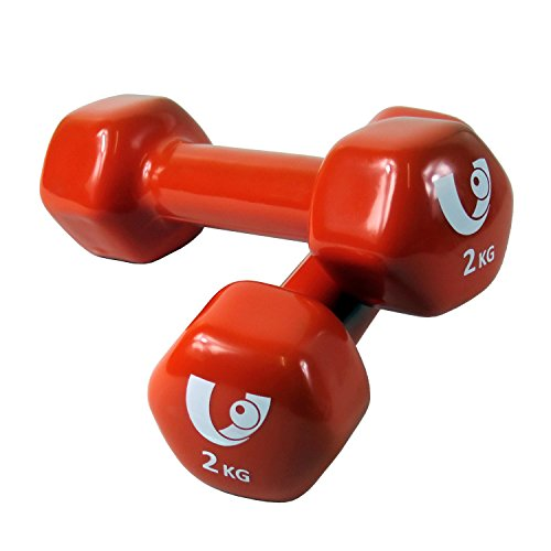 Unibest Aerobic Hantel Gewichte Fitness Neoprenhantel Kurzhanteln Vinylhantel 2er Set - orange