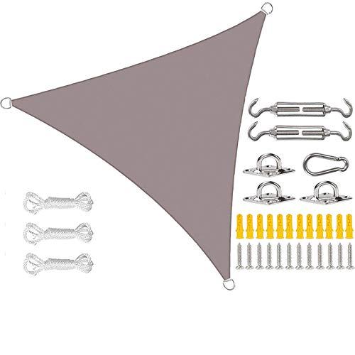 MWEWQT Toldo triángulo de vela con cuerdas y kits de fijación para uso gratuito, vela impermeable protector solar resistente a desgarros anti-UV para jardín patio (3,6 x 3,6 x 3,6 m, J)