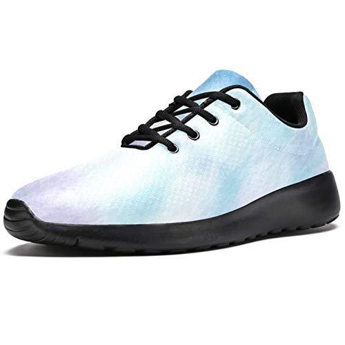 Zapatillas de deporte para hombre, de color azul, con diseño de acuarela, ligeras, transpirables, de malla, para caminar, color, talla 45 1/3 EU