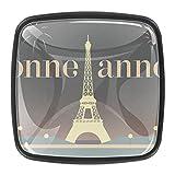 YATELI Bonne Annee Torre Eiffel París Perillas de extracción de para gabinetes, armarios, Puertas y cajones de Muebles: se Venden como un Paquete de 4 perillas