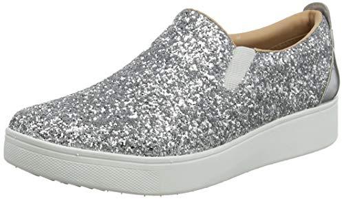 Fitflop Damen Sania Glitter Skates Slip On Sneaker, Silber (Silver 011), 39 EU