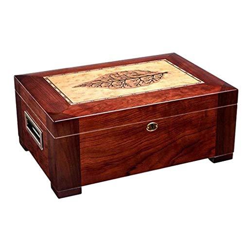 Humidor de cigarros Forro de escritorio de madera del cedro cigarro Caja de almacenamiento - Gabinete de gran capacidad de doble capa hidratante Caja de alcohol puede acomodar hidratante caja de cigar