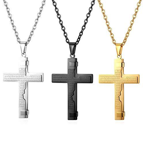 AODOOR Collar para hombre con colgante de cruz y oración de la Biblia, de acero inoxidable, unisex, amuleto, joyas personalizadas (oro, plata y negro)