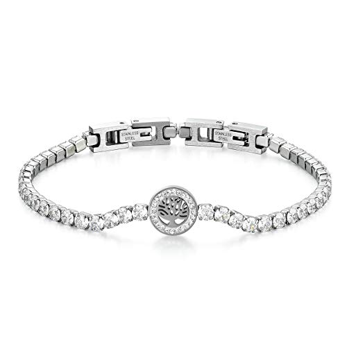 JewelryWe Pulsera de mujer y hombre con circonitas brillantes, pulsera de tenis de elegancia moderna, regalo Albero