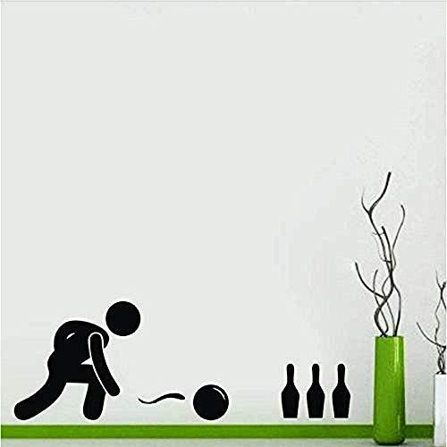 Wandaufkleber Cartoon Bowling Zitat Kunst Vinyl Aufkleber Home Lustige Aufkleber Küche Restaurant Pub Wanddekoration Für Zuhause Schlafzimmer Büro Sprichwort Wandbild Wallpaper 44X79Cm