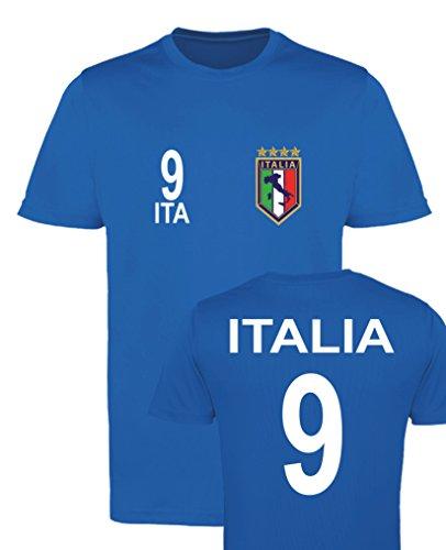 WM EM Trikot - Italia 9 - Mädchen T-Shirt - Royalblau Gr. 134-146