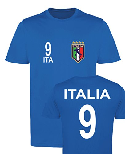 WM EM Trikot - Italia 9 - Herren T-Shirt - Royalblau Gr. L