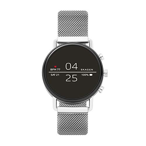 Skagen Connected Falster 2 Stainless Steel Magnetic Mesh Touchscreen Smartwatch, Color: Silver...