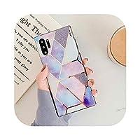 for サムスンギャラクシーノートCvnsla 電話ケース10 S20 S10 S9プラス電気めっきされた幾何学的な大理石のソフトIMDバックカバー-m-for Samsung S20