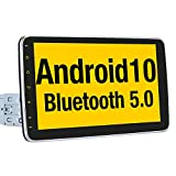 Vanku 10.1' Android 10 Single Din Car Stereo Support QCM BT 5.0, GPS Navigation, Android Auto, DAB+, Backup Camera, 1s Fast-boot, Detachable Touch Screen