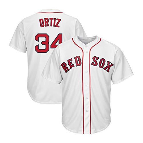 Ortiz Herren Jersey, 34 Red Sox Baseball-Trikots-Fan-Version Lässige Persönlichkeit Sport Uniform Hemd Button Cardigan Shirt (S-3XL) White-L