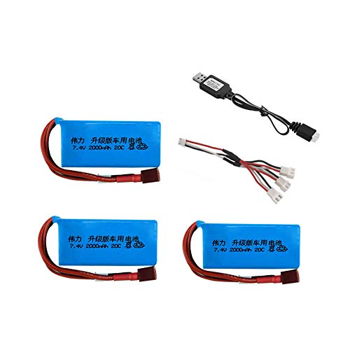 Actualice 2000mah 7 4v juegos de cargador de batería para A949 A959-B A969-B A979-B K929-B RC coche 2s batería LiPo para coche Wltoys-BLANCO