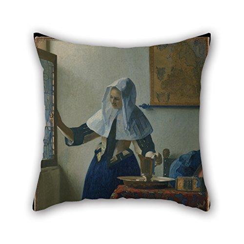 Olieverfschilderij Johannes Vermeer (Nederlands, Delft 1632?1675 Delft) - Jonge vrouw met een waterwerper kussenslopen 20 X 20 Inches / 50 By 50 Cm Beste keuze voor Eetkamer Pub Home Theater Bank Office B