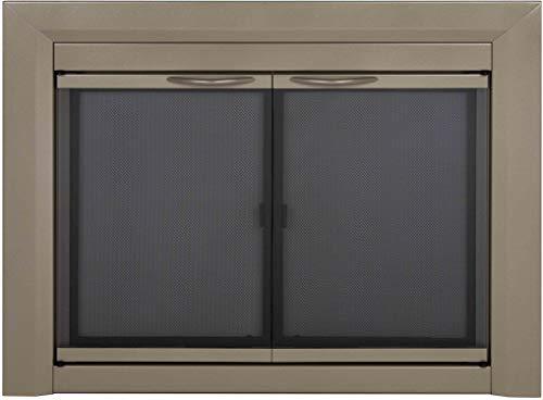 Pleasant Hearth CB-3300 Colby - Puerta de vidrio para chimenea (níquel, tamaño pequeño)