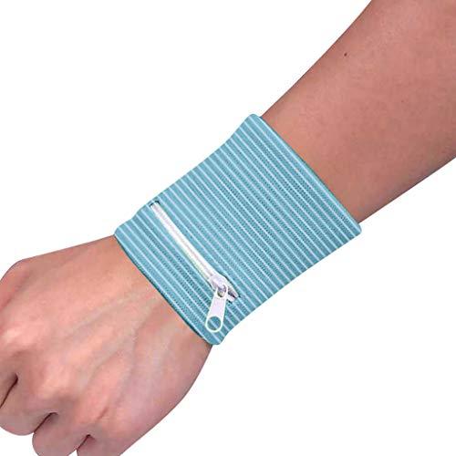 Hunpta@ Handgelenk-Geldbörsen,Sport Armband Handgelenktasche Fitness Gym Schweißarmband Armbandtasche Wristband Reißverschluss Atmungsaktiv Handgelenkscheine mit Geldbeutel Sport-Tasche radfährt