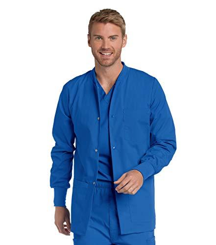 Landau Men's Premium 4-Pocket Classic Fit Warm-Up Medical Scrub Jacket, Royal Blue, X-Large
