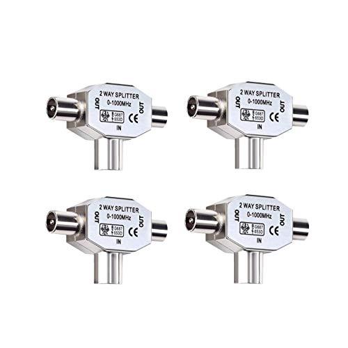 JZK 4 x Distribuidor de Antenas, Conectores de Cables, Distribuidor bidireccional para adaptadores TV, 2X coaxial, Male Connector/Female Connector