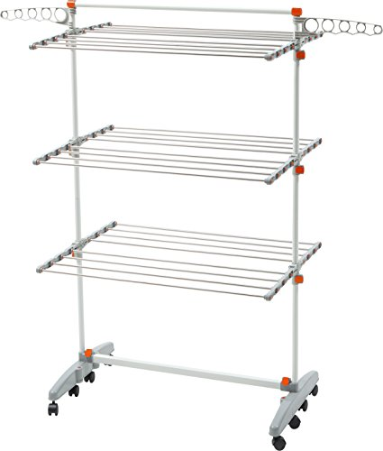 idee BDP-V23 Foldable Rolling 3-tier Clothes Laundry Drying Rack with Stainless Steel Hanging Rods, Collapsible Shelves and Base for Easy Storage, Made-in-Korea, Premium Size, Orange