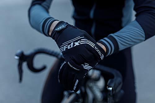 FDX, winddichte Fahrrad-Handschuhe, mit Gel gepolstert, Touchscreen-kompatibel L schwarz