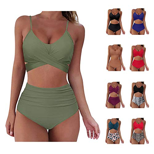 FIRERO Swimsuits for Women Tankini Two Piece Bathing Suits Tummy Control Swimwear Ruffled Top High Waisted Swimming Suits(A-Army Green,Large)