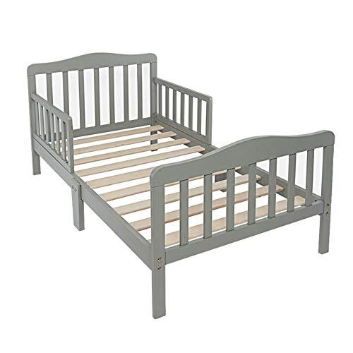 JINDAO-URG Wooden Baby Toddler Bed Children Bedroom Furniture with Safety Guardrails Gray URG