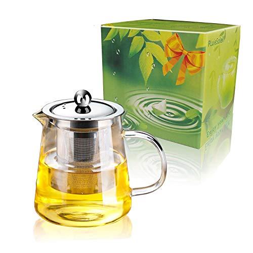 Teiera di Vetro 450 ml PLUIESOLEIL con Vetro Filtro in Acciaio Inox Inserto (450ML)