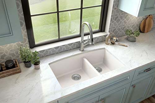 Karran QU-711 Undermount Quartz/Granite Composite Kitchen Sink 32 in. 60/40 Double Bowl in White