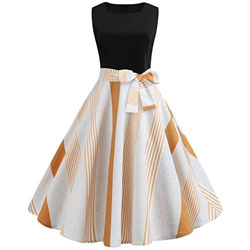 Sommer Retro Kleid ärmelloses schwarz halblang Bedruckte Taille Elegantes Kleid Bogen Bogen Swing Kleid-S_JY19
