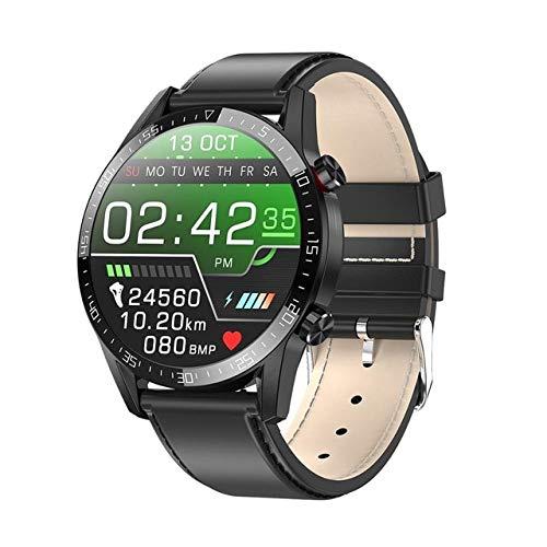 wjwang Reloj Inteligente L7 Soporte De Llamadas Telefónicas Marcador ECG Medida De Ritmo Cardíaco Reloj Inteligente Impermeable Reloj Ip68 Hombres Mujeres Android iOS L13 Negro