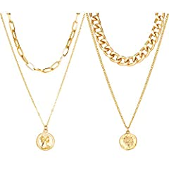 ◆Layered Necklaces Set◆One order includes 2PCS multilayer necklaces,Gold paperclip choker and coin link layered necklaces are available, Perfect for Women and Men ◆Material◆ Made in high quality brass and alloy .So you can bask in their brilliance fo...