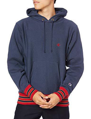 [チャンピオン] パーカー トレーナー 裏起毛 長袖 11.5oz ラインリブ Cロゴワンポイント刺繍 リバースウィーブ フーデッドスウェットシャツ C3-S109 メンズ ダークネイビー L