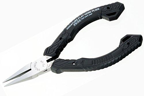 Alicates de punta plana compacta compacta de precisión de punta larga (nariz plana), grado profesional, ESD seguro con mandíbulas de acero al carbono.