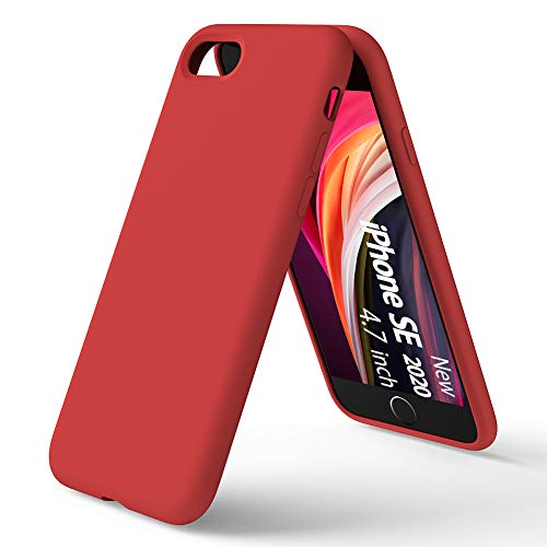ORNARTO Funda Silicone Case para iPhone SE(2020),Protección de Cuerpo Completo, Carcasa de Silicona Líquida Suave Antichoque Bumper para Apple iPhone SE(2020) 4,7 Pulgadas-Rojo