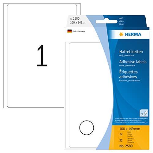 HERMA 2580 Vielzweck-Etiketten groß (100 x 149 mm, 32 Blatt, Papier, matt) selbstklebend, permanent haftende Haushaltsetiketten zur Handbeschriftung, 32 Haftetiketten, weiß