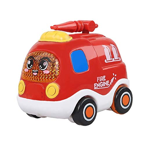 Push and Go Pull Back Vehicles Friction Powered Cars Inertial Car Toys for Toddlers (Fire Truck) Early Childhood Educational Toys