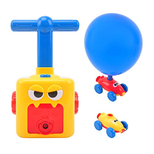 CS COSDDI Kinder Ballon Auto Spielzeug,Children Inertial Power Ball Car,pädagogische DIY Spielzeug Trägheit Power Car mit 12 Ballon (Ballonfarbe zufällig)