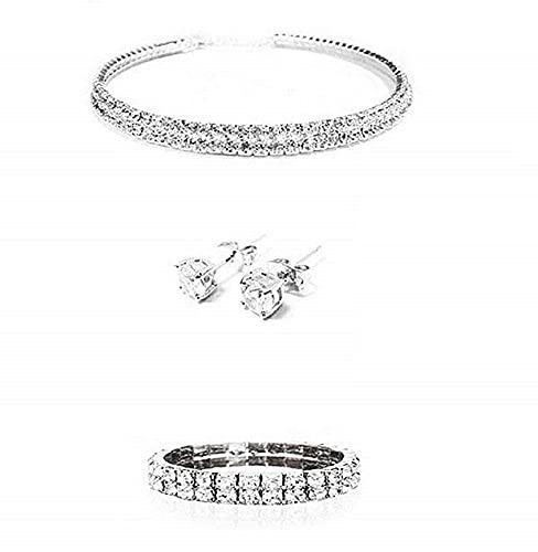 LUIDILUC Juego de collar y pendientes para mujer con piedras brillantes y circonitas de plata