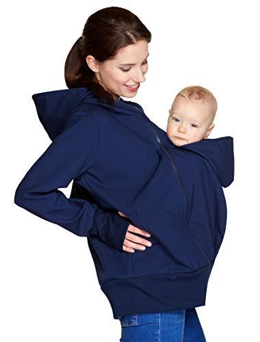 Be Mama - Maternity & Baby wear wasserdichte All-Weather 3in1 - Tragejacke & Umstandsjacke & Damenjacke in einem aus Softshell (Wassersäule: 10.000 mm), Modell: BERGAMI Softshell, dunkelblau SM