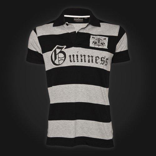 Guinness Polo T-Shirt Noir/Gris rayé - Noir/Gris, Small