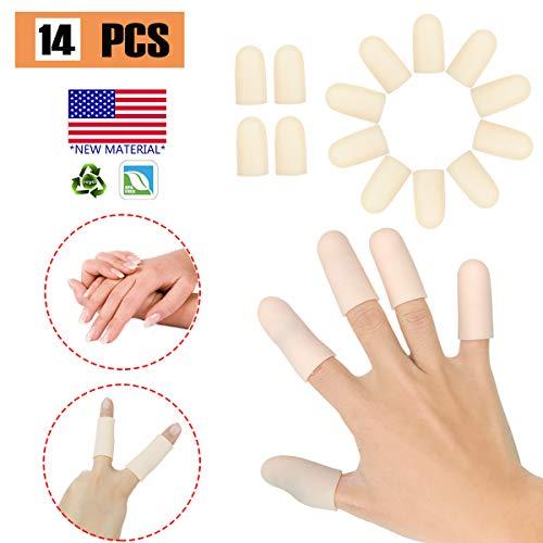 14 PCS Gel Fingerlinge, Fingerschutz Silikon * Neues Material * Fingerkappen, Silikon Fingerschützer, Die Für Triggerfinger, Handekzem, Fingerarthritis und Mehr Groß Sind (Nackt, M)